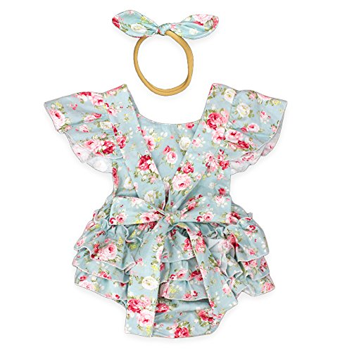 Luckikikids Baby Girls Cotton Vintage Floral Ruffle Rompers Clothing Headband Set (L(12-24M), Green Floral) ()