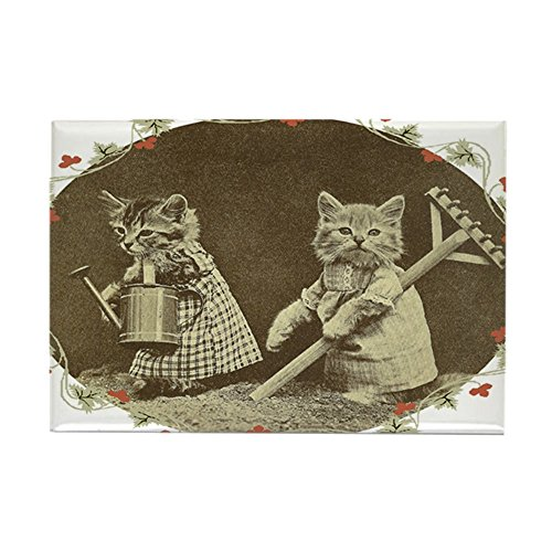 (CafePress Gardening Kitties Rectangle Magnet, 2