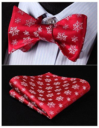 HISDERN Men's Christmas Woven Party Self Bow Tie Pocket Square Set
