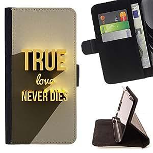 - NEVER 3D TRUE TEXT DIES LOVE GOLD - - Prima caja de la PU billetera de cuero con ranuras para tarjetas, efectivo desmontable correa para l Funny HouseFOR Samsung Galaxy S6