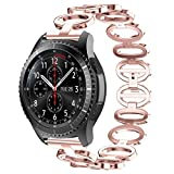 SUKEQ For Samsung Gear S3 Bands, 22mm Solid Stainless Steel Chain Style Bracelet Metal Replacement Strap Business Wrist BandFor Samsung Gear S3 Smart Watch (Rose Pink)