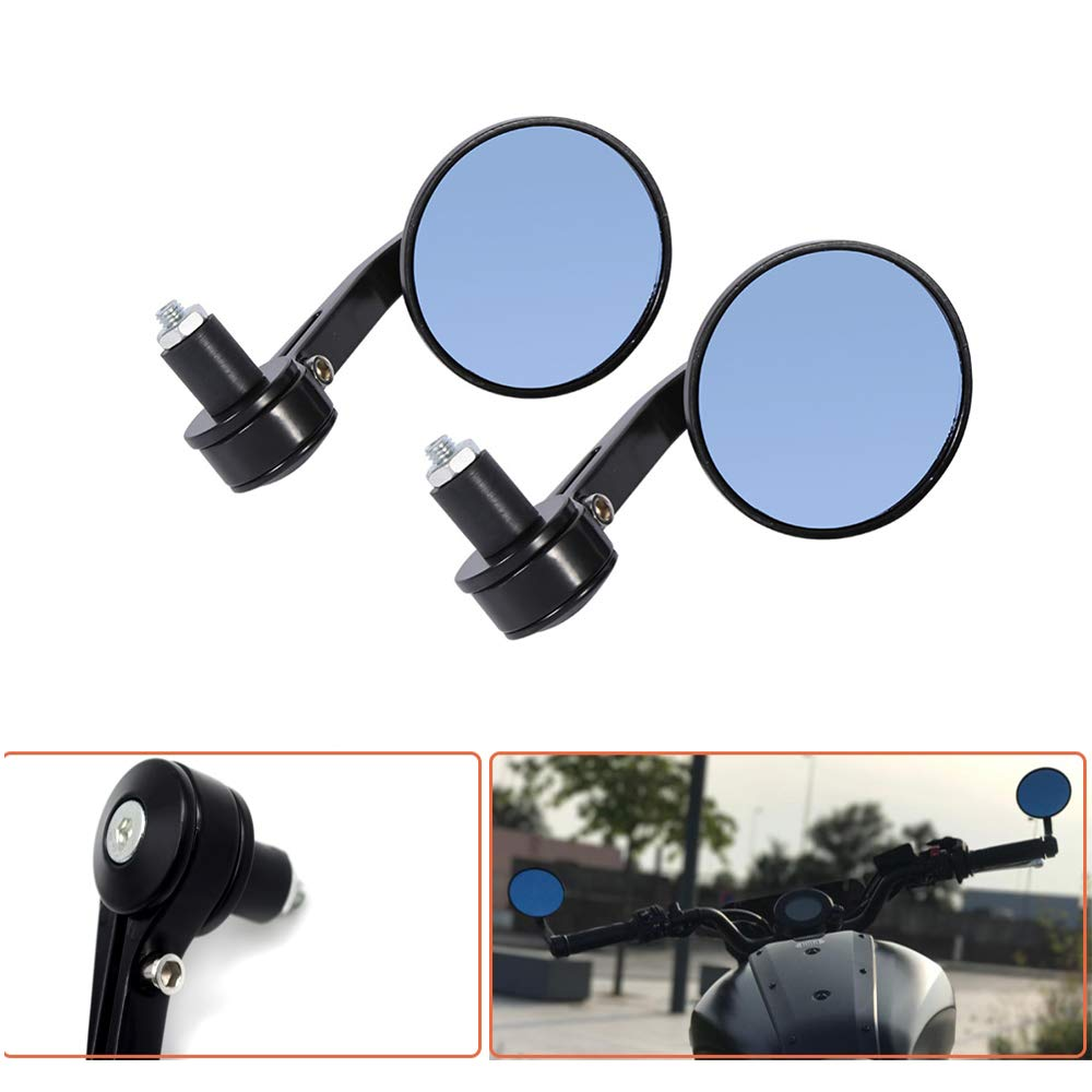 MASO Round Bar End Mirrors 1 Pair 7//8 22mm CNC Aluminium Handlebar Rear View Mirror for Motorcycle Silver