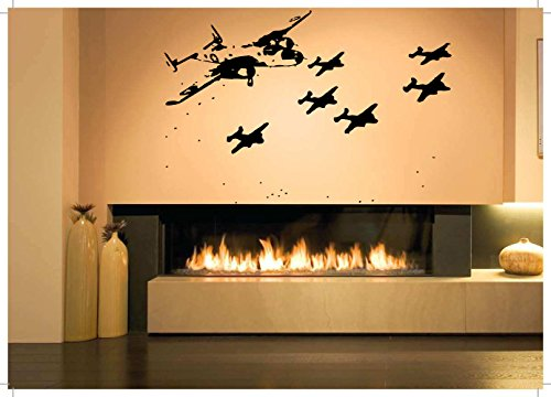 Wall Room Decor Art Vinyl Sticker Mural Decal Airplane Jet Fighter Large AS1414