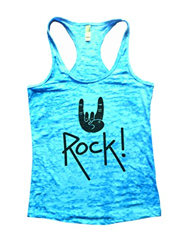 (Rock On Womens Workout Gym Burnout Tank Top Rock Star Shirt (Medium, Tahiti Blue))