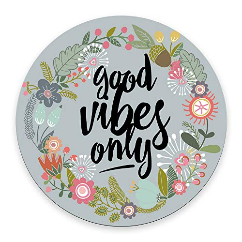 Good Vibes Only Mouse Pad Floral Quote Cute Dorm Decor Office Desk Accessories Office Decor Inspirational Positive Quote Black Mouse Pad