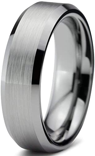 Amazon Com Tungsten Wedding Band Ring Free Custom Laser Engraving Mm For Men Women Silver Grey Beveled Edge Brushed Comfort Fit Lifetime Guarantee