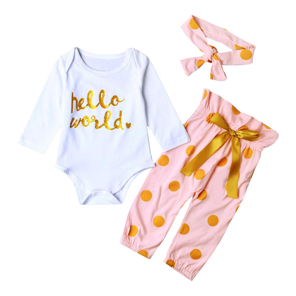 8a07fe9b896d Lankey 3Pcs Infant Newborn Baby Girls HELLO WORLD Romper Tops+Pants Clothes  Outfit Sets: Amazon.in: Clothing & Accessories