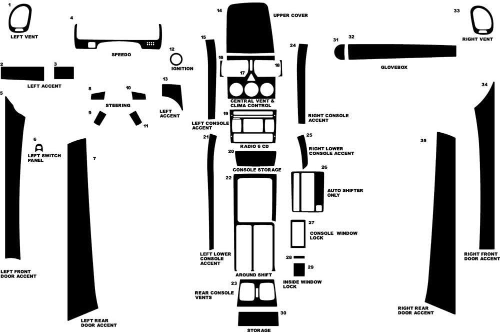 Brushed Black Rvinyl Rdash Dash Kit Decal Trim for Pontiac GTO 2004-2006 Aluminum