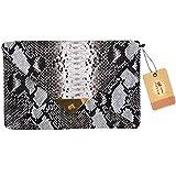 Goodbag Boutique Lady Retro Fashion PU Handbag Faux Snakeskin Envelop Clutch Chain Shoulder Crossbody Bag