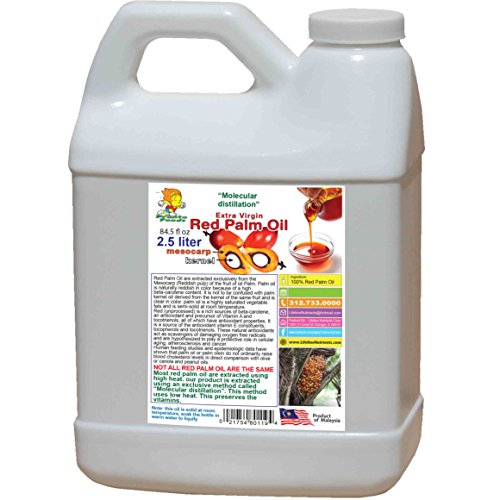 2.5 liter (84.5 fl oz), 100% Pure RED PALM OIL, (extra virgin)