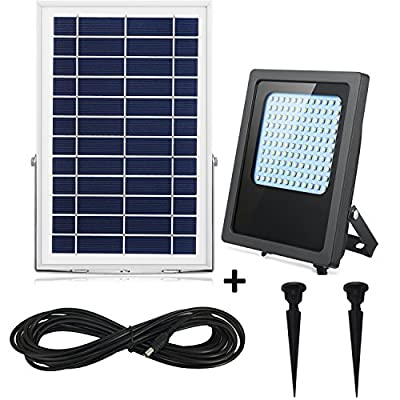 Solar Flood Lights Outdoor Dusk to Dawn 120Leds 800Lumen Solar Powered Spotlight IP65 Waterproof Solar Outdoor Security Light Auto On/Off for Garden,Yard,Porch,Patio,Garage,Shed,Pool,Barn (White)