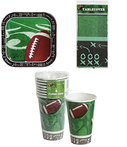 Football Tablecloth Paper Cups Plates Party Supplies Supply Trays NFL Sports Tablecover Superbowl Game Day Tailgate Set of (Homemade Halloween Football Costumes)