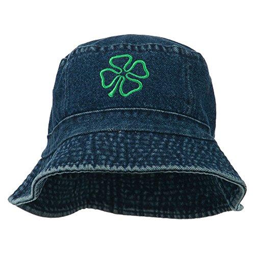 Saint Patrick's Four Leaf Clover Embroidered Bucket Hat - Denim -