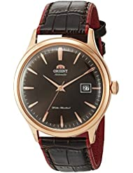 Orient Mens Bambino Version 4 Japanese Automatic Stainless Steel and Leather Casual Watch, Color:Brown (Model...