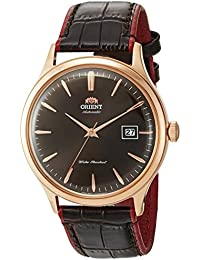 Men's 'Bambino Version 4' Japanese Automatic Stainless Steel and Leather Casual Watch, Color:Brown (Model: FAC08001T0)