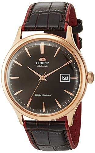 Orient Men's 'Bambino Version 4' Japanese Automatic Stainless Steel and Leather Casual Watch, Color:Brown (Model: FAC08001T0)