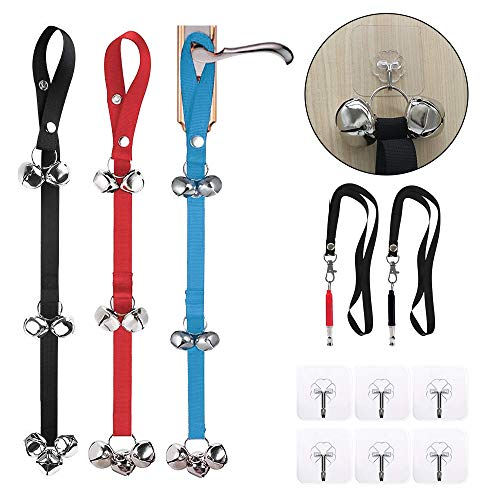 VIGOROSO Dog Doorbells for House Training and Housebreaking, 3 Pack Bells with 2 Whistles & 6 Pcs Adhesive Hooks for All Pets PottyTraining (Black & Blue & Red)