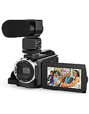 كاميرا فيديو 4K، كاميرا فيديو بدقة 4K، مسجل كاميرا فيديو فيديو فيديو فيديو فيديو فيديو فيديو بتكبير رقمي 16X مع ميكروفون خارجي بشاشة لمس 3 بوصة رؤية ليلية بالأشعة تحت الحمراء بالأشعة تحت الحمراء