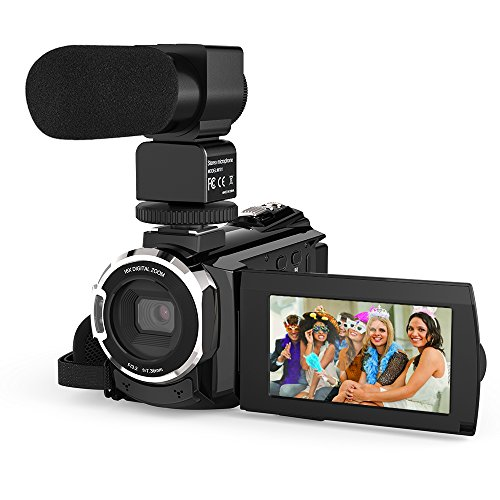 Andoer Camcorder 4K 1080P 48MP WiFi Digital Video Camera Recorder with External Microphone Novatek 96660 Chip 3inch Capacitive Touchscreen IR Infrared Night Sight 16X Digital Zoom
