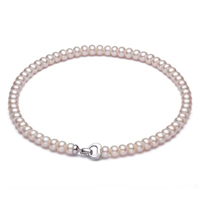 8b67c4c0424dab SMOKOKOS Genuine White Freshwater Cultured Pearl Necklace - AAA Quality  17.5 Inches: Yan: Amazon.co.uk: Jewellery