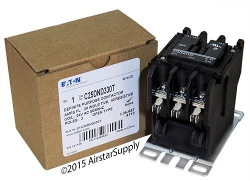 Purpose Contactor Standard 3 Pole (Square D 8910DPA33V14 - Replaced by Eaton / Cutler Hammer C25DND330T 50mm DP Contactor , 3-Pole , 30 Amp , 24 VAC Coil Voltage)