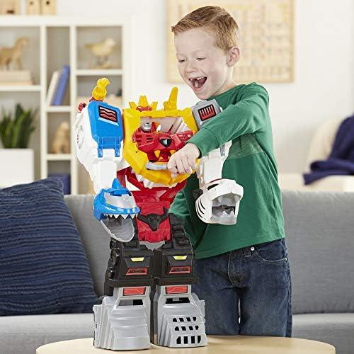 Power Rangers Playskool Heroes Megazord Spielset, 2-in-1 verwandelbares Spielset, 60 cm großer Megazord mit Lichtern und Sounds, Kids ab 3 Jahren