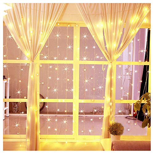 Hopolon 304 LED Window Curtain Lights,8 Modes Plug in Twinkle FairyLights,Outdoor Indoor StringLights Wedding Party Home Garden Bedroom Wall Decorations,UL Certified 9.8ft×9.8ft(Warm White) ()