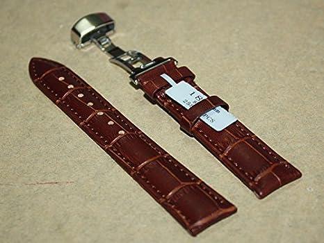 7e92b12fd56c Amazon   腕時計 交換ベルト 本革 クロコ型押しベルト Dバックル 18mm ...