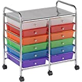 12 Pull Out Translucent Multi Colour Drawers Steel Frame Mobile Organizer
