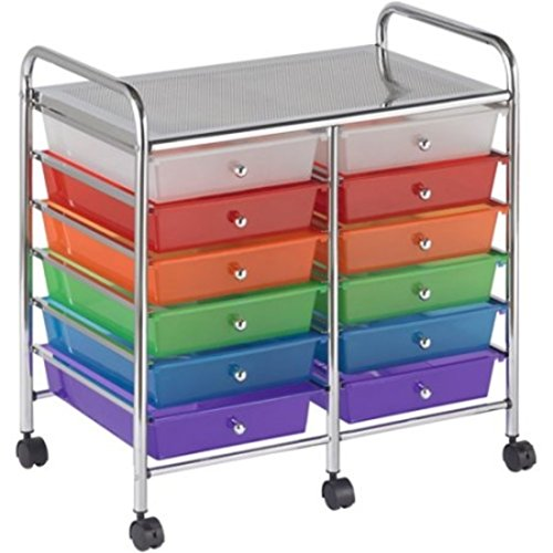 12 Pull Out Translucent Multi Colour Drawers Steel Frame Mobile Organizer by Early Childhood Resources