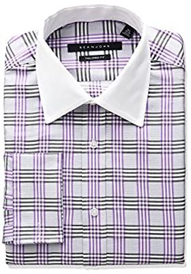 Sean John Men's Tailored Fit Plaid Sread Collar Dress Shirt