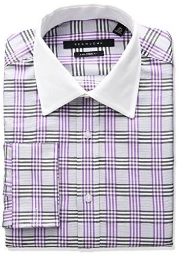 Sean John Tailored Dress Shirt (Sean John Men's Tailored Fit Plaid Sread Collar Dress Shirt, Medium Purple, 14.5