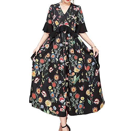 Damen Kleider S1818 Seide DISSA Schwarz Kleid Abendkleid Übergröße Gestreift Cocktail Midi HAaaq5Zxw