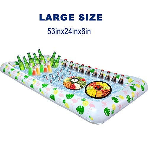 Tifeson Aloha Inflatable Serving Bar Buffet Salad Ice Tray - Tropical Style Serving Bar Cooler Food Drink Holder Containers - Outdoor BBQ Picnic Pool Party Luau Cooler with Drain Plug