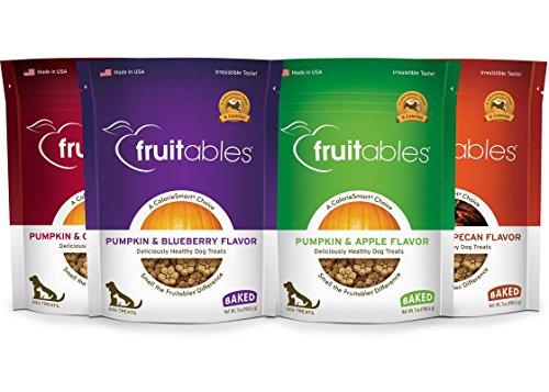 Fruitables Pumpkin Dog Treats, Variety Pack of 4 - Fruit Vegetable Treat