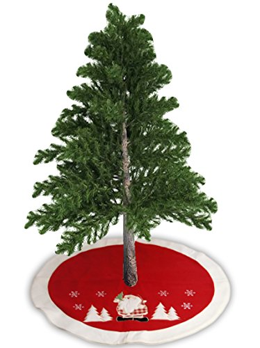 UPC 745780008685, LimBridge Rustic Christmas Tree Skirt Holiday Decoration 35-1/2 Inch, Red
