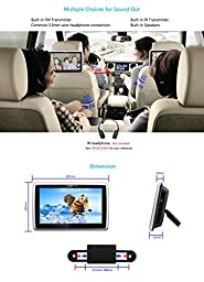 DDAUTO DD1019HTS Headrest DVD Player Capacitive Touch Screen Multimedia Player with Insertion Drive Supports CPRM DVD SD USB 1080P Video 10.1 Inch Piano Black Upgrade Touchable Version