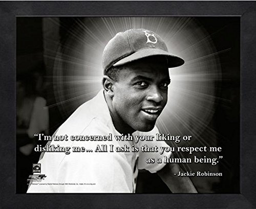 "Jackie Robinson Brooklyn Dodgers ProQuotes Photo (Size: 9"" x 11"") Framed"