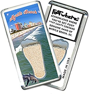 """product image for Myrtle Beach""""FootWhere"""" Magnet (MBSC201 - Beachfront). Authentic destination souvenir acknowledging where you've set foot. Genuine soil of featured location encased inside foot cavity. Made in USA"""