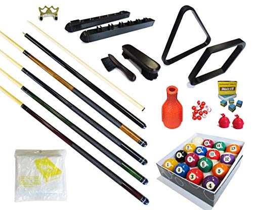 Pool Table - Premium Billiard 32 Pieces Accessory Kit - Pool Cue Sticks Bridge Ball Sets (Kit-16)