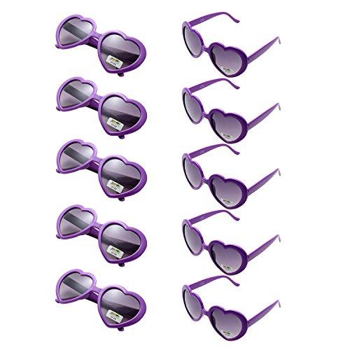 Oaonnea 10 Packs Neon Colors Party Favors Heart Sunglasses (Purple) -