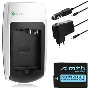 Batería + Cargador DMW-BLC12 para Panasonic Lumix DMC-FZ200, DMC-G5, DMC-GH2