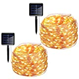 INST 200 LED Solar Powered String Lights, Copper Wire Lights, 72ft 8 Modes Starry Lights, Waterproof IP65 Fairy Decorative Lights for Outdoor, Wedding, Homes, Party, Halloween (Warm White) (2pcs)
