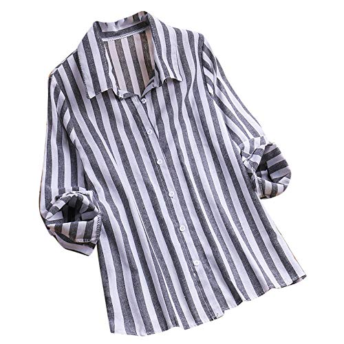 JESFFER Women Ladies Long Sleeve Stripe Loose Blouse Pullover Button Tops Shirt