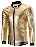 Pivaconis Men Autumn Metallic Nightclub Style Zip Up Varsity Baseball Bomber Jacket Gloden L