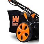 WEN 40439 40V Max Lithium Ion 19-Inch Cordless 3-in-1 Electric Lawn Mower with Two Batteries, 16-Gallon Bag and Charger 11 Includes one 4 amp-hour battery, one 2 amp-hour battery, one 16-gallon bag, one charger, and a two-year warranty Versatile 19-inch steel deck allows users to mulch, bag or use the side discharge door Adjust the cutting height between six different stops ranging from 1.5 to 4 inches