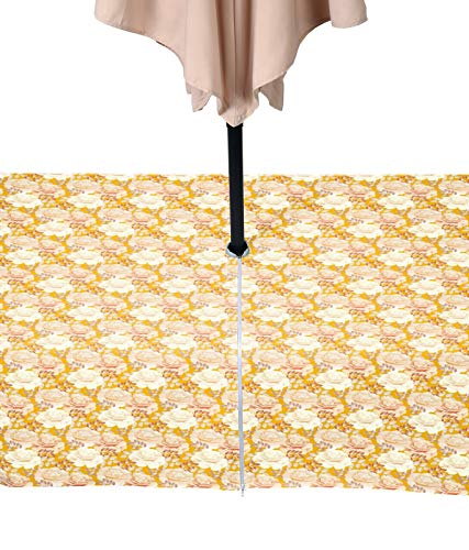 (Fabric Textile Products White Rose Garden Tablecloth Milliken Waterproof with Zipper & Umbrella Hole 60