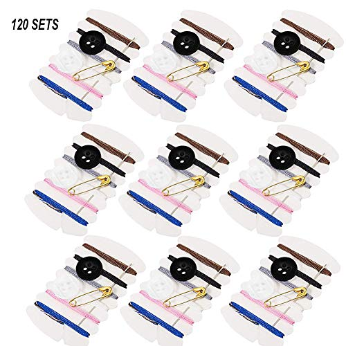 100 Sets Simple Sewing Kit,Thread Repair Kit with Sewing Needles, Threads, Button, Pin Set Travel Tools Kit Women Hand Sewing Bag Hotel Amenities Necessities Grooming Sewing Kit