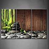 3 Panel Wall Art Green Spa Concept Bamboo Grove Black Zen Stones Old Wooden Background Painting Pictures Print On Canvas Botanical Picture For Modern Decoration Stretched By Wooden Frame Ready To Hang