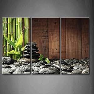 3 Panel Wall Art Green Spa Concept Bamboo